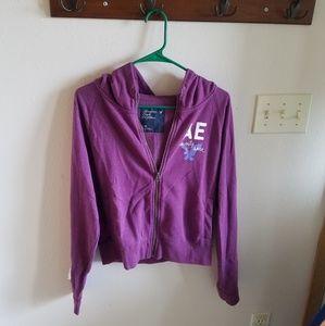 American Eagle Purple Graphic Zip Up Hoodie